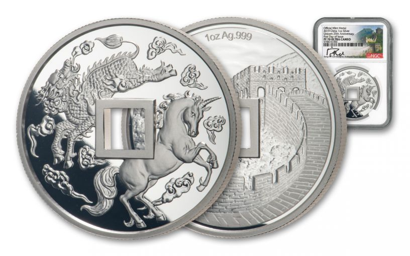 – 2019 China 1-oz Silver Unicorn Vault Protector NGC PF70UC First Day of Issue w/Song Fei Signature
