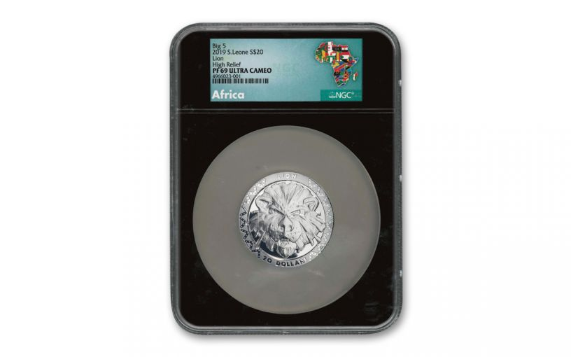 2019 $20 2-oz Silver Sierra Leone Big 5 Lion High Relief Proof PF69UC w/Black Core