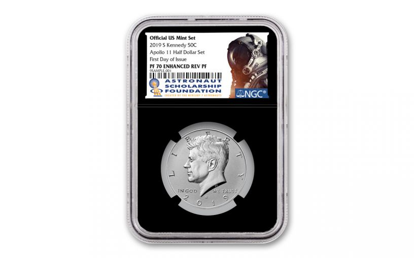 2019-S Kennedy Half Dollar Enhanced Reverse Proof NGC PF70 First Day of Issue w/Black Core and ASF Label