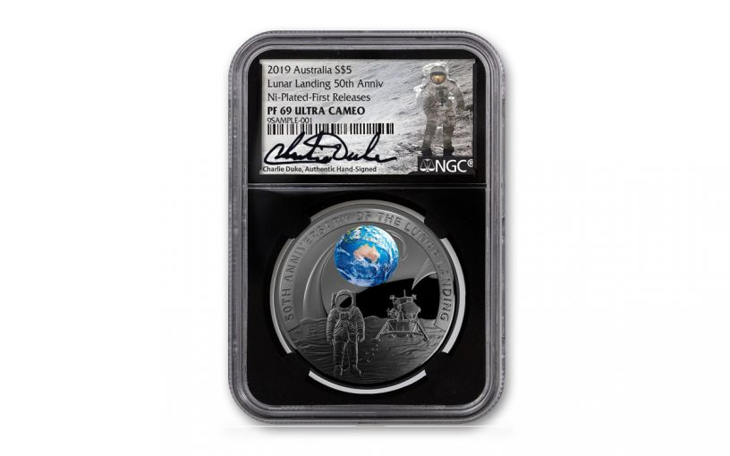 2019 Australia $5 1-oz Silver Apollo 11 Domed Colorized Proof w/Black Nickel Plating NGC PF69 First Releases Black Core & Duke Signature