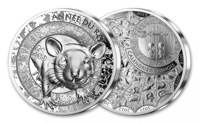 2020 France €20 1-oz Silver Lunar Year of the Rat High Relief Proof