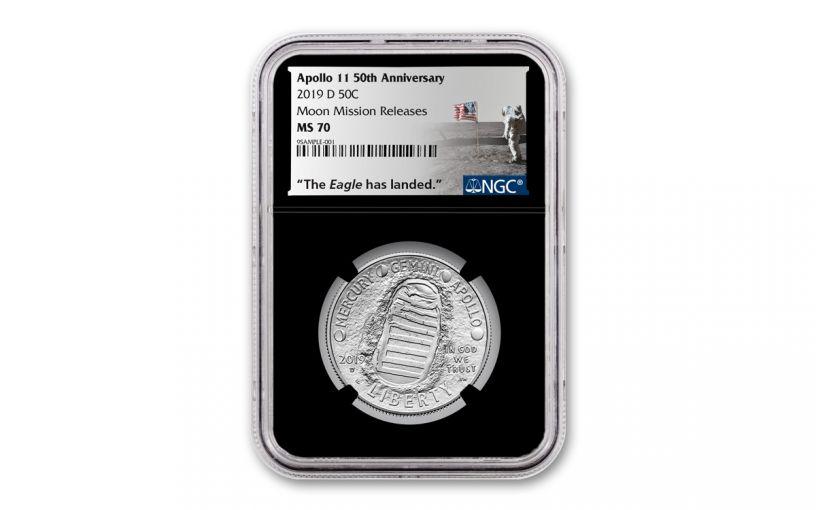2019-D Apollo 11 50th Anniversary Clad Half Dollar NGC MS70 w/Black Core & Moon Mission Label
