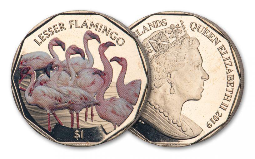 2019 British Virgin Islands $1 8-gm Virenium® Lesser Flamingo Proof