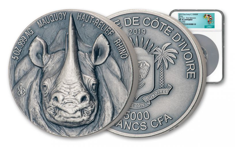 2019 Ivory Coast 5000 Francs 5-oz Silver Rhino Ultra High Relief Antiqued NGC MS70 First Releases