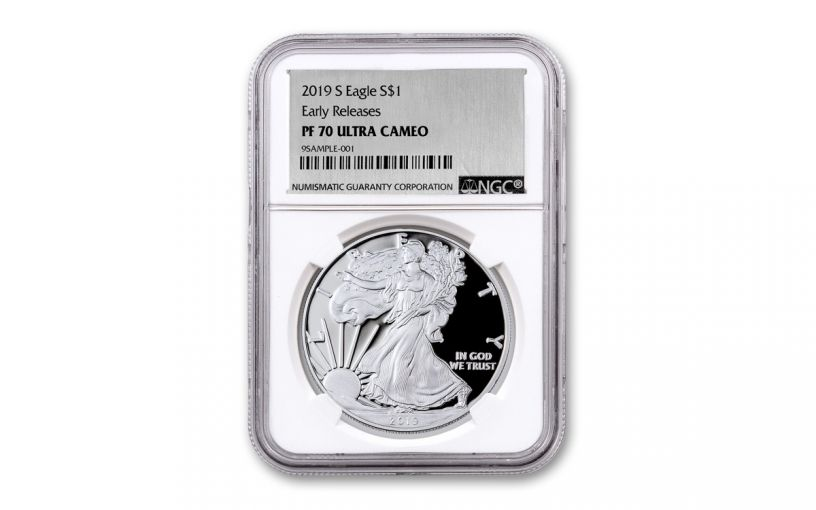 2019-S $1 Silver Eagle NGC PF70UC Early Releases w/Silver Foil Label