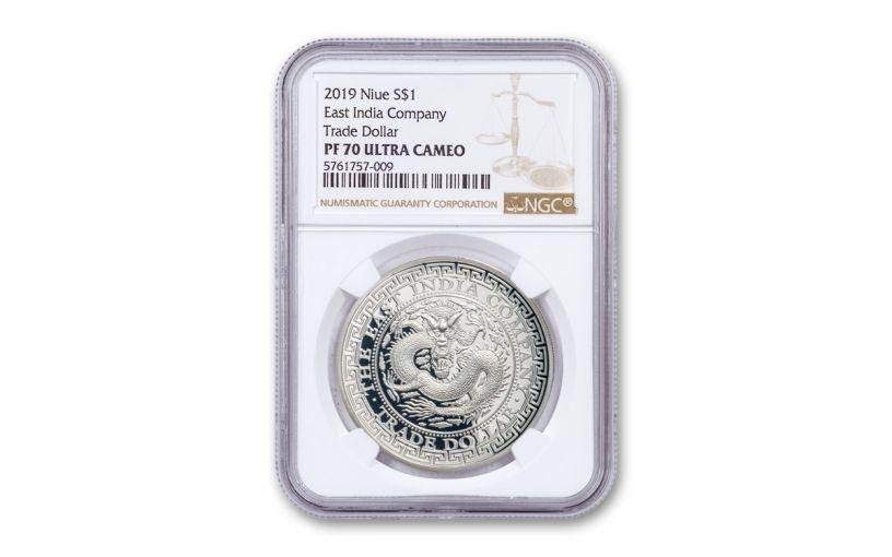 2019 Niue 1-oz Silver Chinese Trade Dollar Proof NGC PF70UC