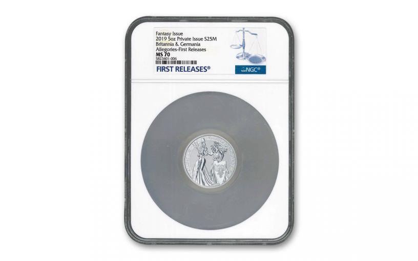 2019 5-oz Silver Allegories — Britannia & Germania NGC MS70 First Releases