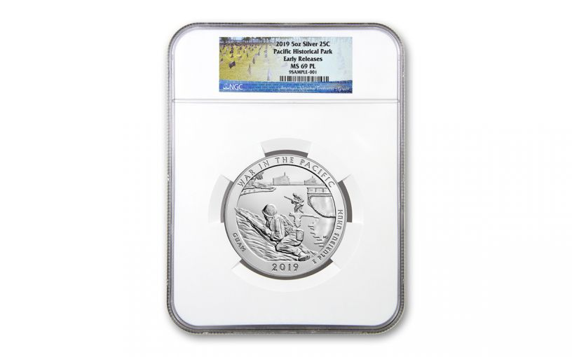 2019 5-oz Silver America the Beautiful – War in the Pacific National Historical Park NGC MS69PL Early Releases