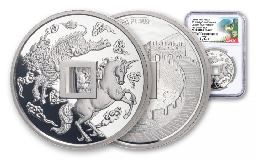 2019 China 88-gm Platinum Unicorn Vault Protector NGC PF70UC First Day of Issue w/Song Signature