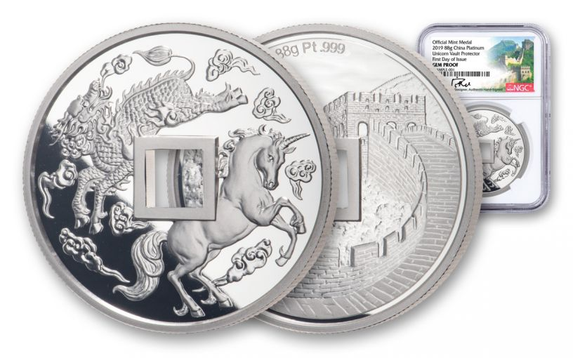 2019 China 88-gm Platinum Unicorn Vault Protector NGC Gem Proof First Day of Issue w/Song Signature