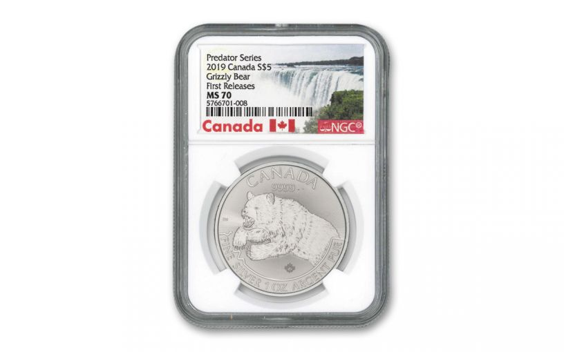 2019 Canada $5 1-oz Silver Predator Series Grizzly Bear NGC MS70 First Releases w/Canada Label