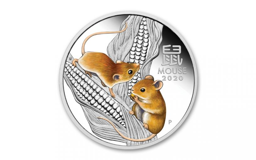 2020 Australia $1 1-oz Silver Lunar Year of the Mouse Colorized Proof