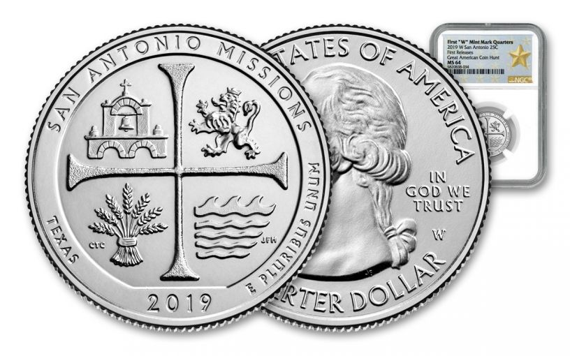 2019-W 25¢ America the Beautiful – San Antonio Missions National Historical Park NGC MS64 First Releases w/Gold Star Label
