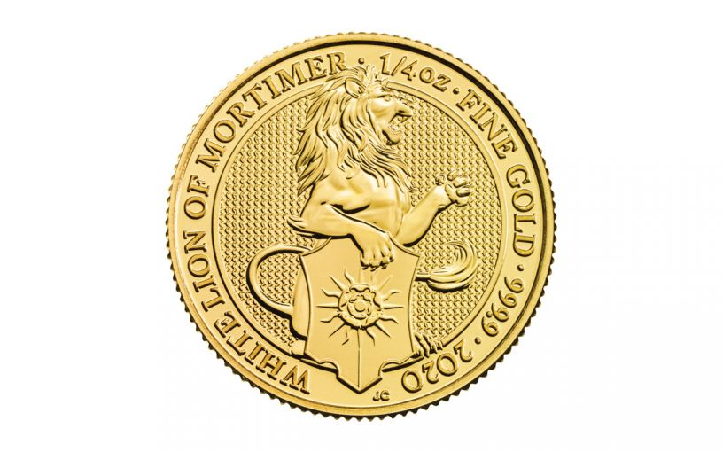 2020 Great Britain £25 1/4-oz Gold Queen's Beasts White Lion of Mortimer BU