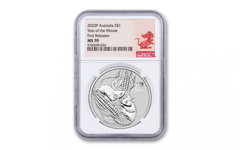 2020 Australia $1 1-oz Silver Lunar Year of the Mouse NGC MS70 First Releases w/Rat Label