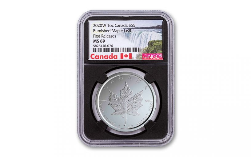 2020-W Canada $5 1-oz Silver Burnished Maple Leaf NGC MS69 First Releases w/Black Core & Canada Label