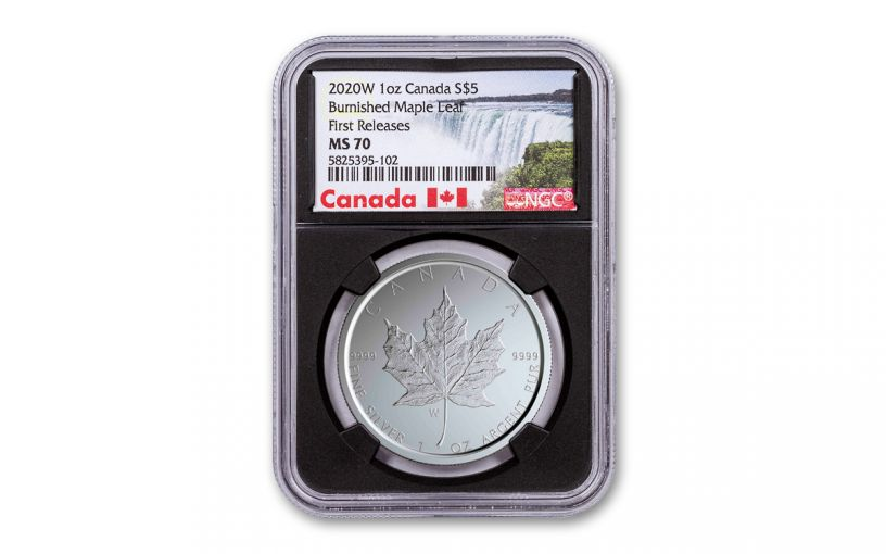 2020-W Canada $5 1-oz Silver Burnished Maple Leaf NGC MS70 First Releases w/Black Core & Canada Label