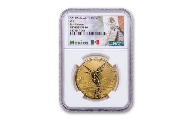 2019-MO Mexico 1-oz Gold Libertad Reverse Proof NGC PF70 First Releases w/Mexico Label