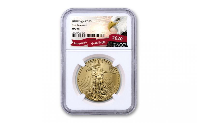 2020 $25 1/2-oz Gold American Eagle NGC MS70 First Releases w/Eagle Label