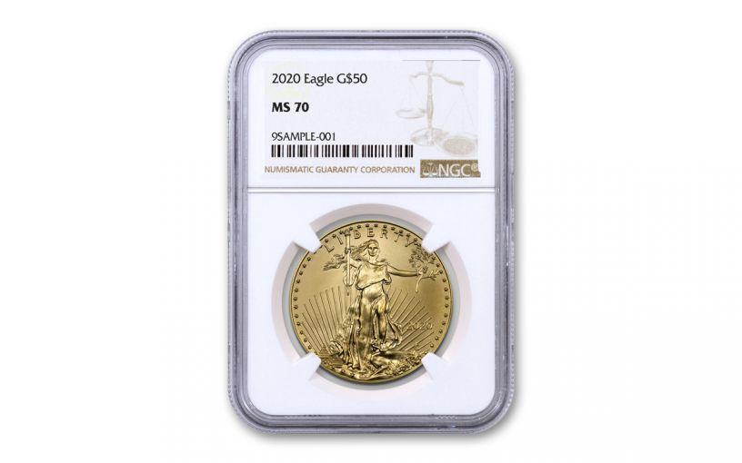 2020 $50 1OZ GOLD EAGLE NGC MS70 BROWN