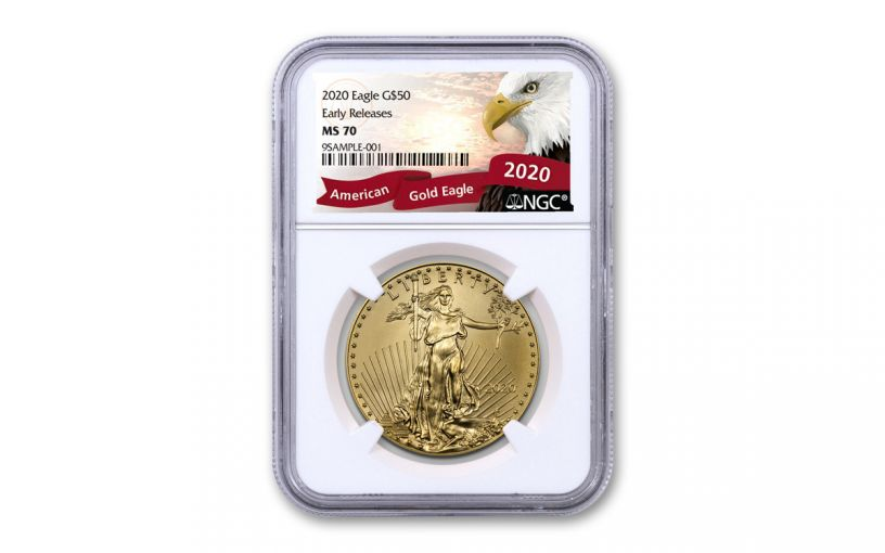 2020 $50 1-oz Gold American Eagle NGC MS70 Early Releases w/Eagle Label