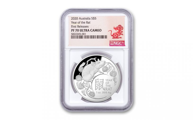 2020 Australia $5 1-oz Silver Lunar Year of the Rat Dome Proof NGC PF70UC First Releases w/Rat Label