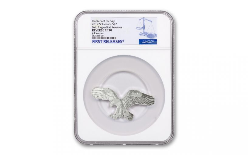 2019 Solomon Islands $2 1-oz Silver Bald Eagle Reverse Proof Shaped Coin NGC PF70UC First Releases