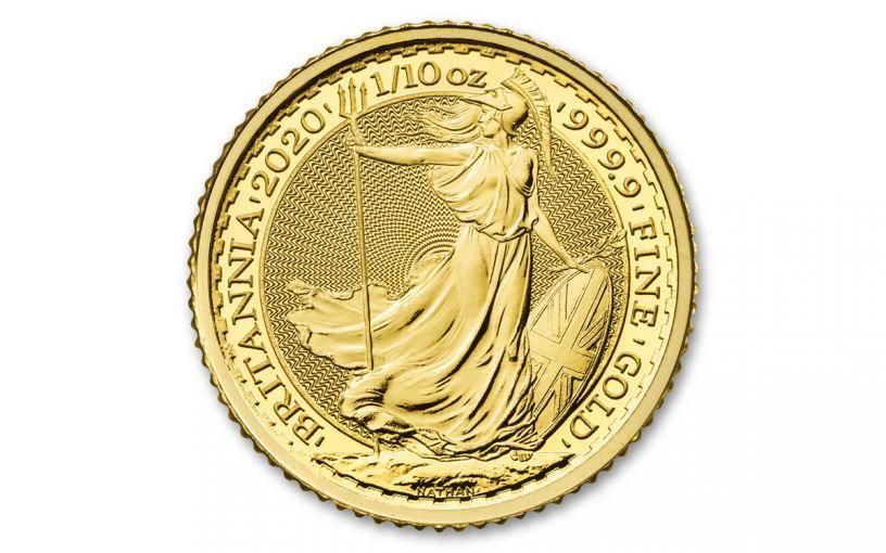 2020 Great Britain £10 1/10th-oz Gold Britannia BU