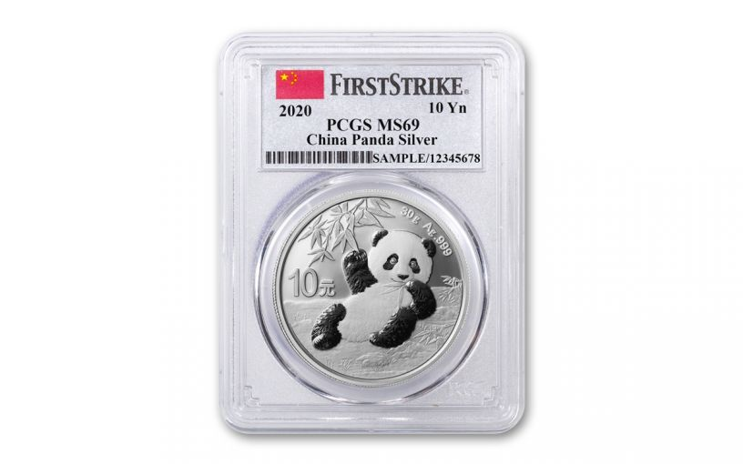 2020 China 30-Gram Silver Panda PCGS MS69 First Strike w/China Flag Label