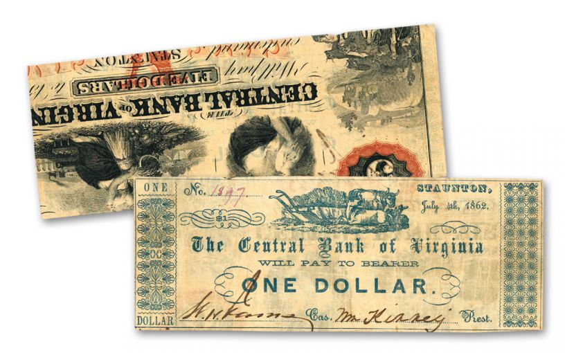 1862 $1 Central Bank of Virginia Recycled Note VF