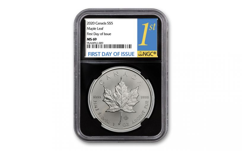 2020 Canada $5 1-oz Silver Maple Leaf NGC MS69 First Day of Issue w/Black Core