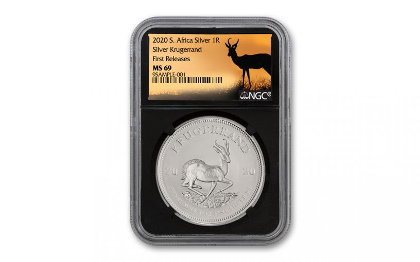 2020 South Africa 1-oz Silver Krugerrand NGC MS69 First Releases w/Black Core & Springbok Label