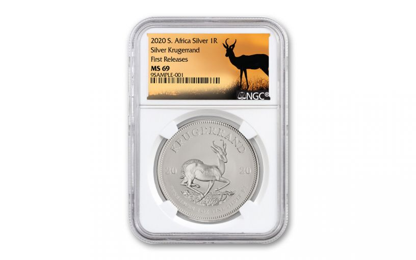 2020 South Africa 1-oz Silver Krugerrand NGC MS69 First Releases w/Springbok Label