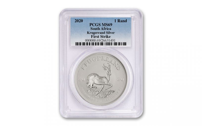 2020 South Africa 1-oz Silver Krugerrand PCGSC MS69 First Strike w/Clear Core
