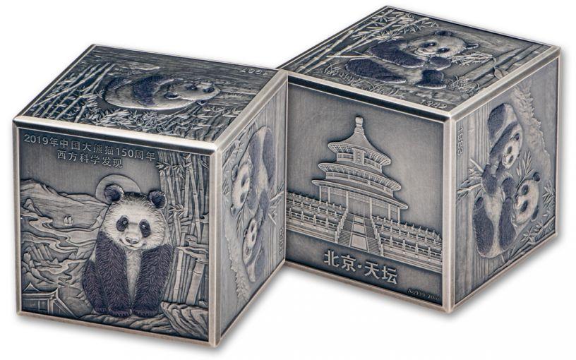 2019 China 20-oz Silver 150th Anniversary Panda Cube