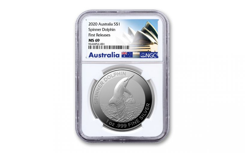 2020 Australia $1 1-oz Silver Spinner Dolphin NGC MS69 First Releases
