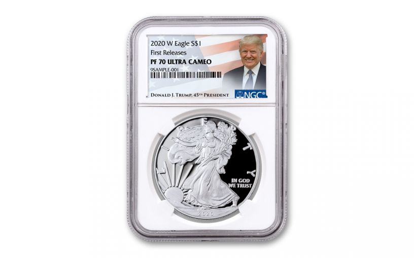 2020-W $1 1-oz American Silver Eagle NGC PF70UC First Releases w/Trump Label