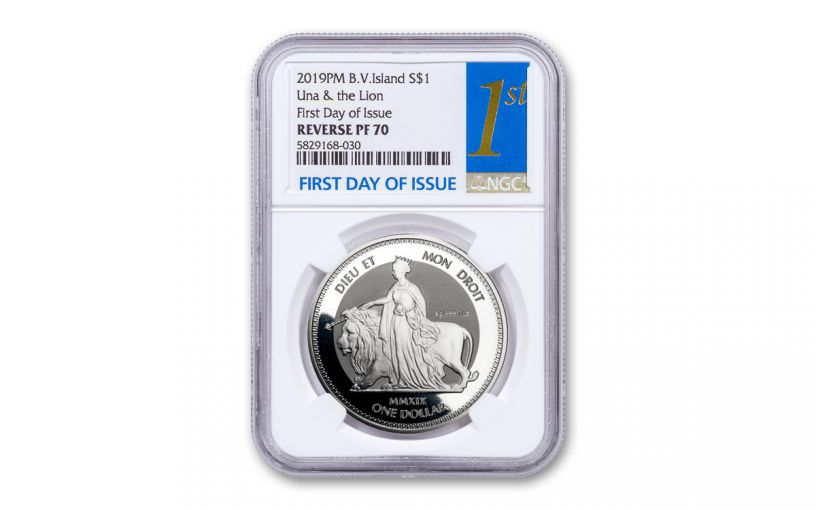 2019 British Virgin Islands $1 1-oz Silver Una & Lion Reverse Proof NGC PF70UC First Day of Issue