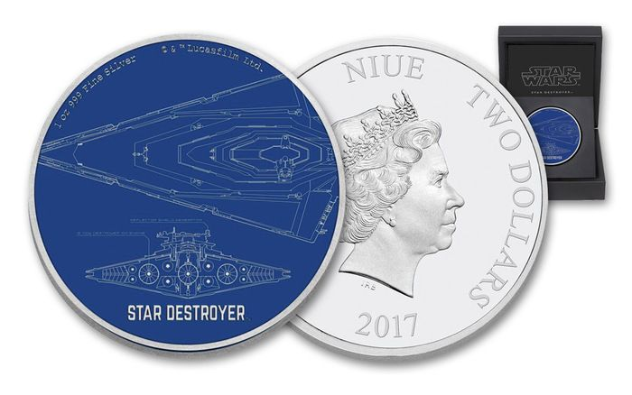 2017 Niue 2 Dollar 1-oz Silver Star Wars Ships Star Destroyer Proof