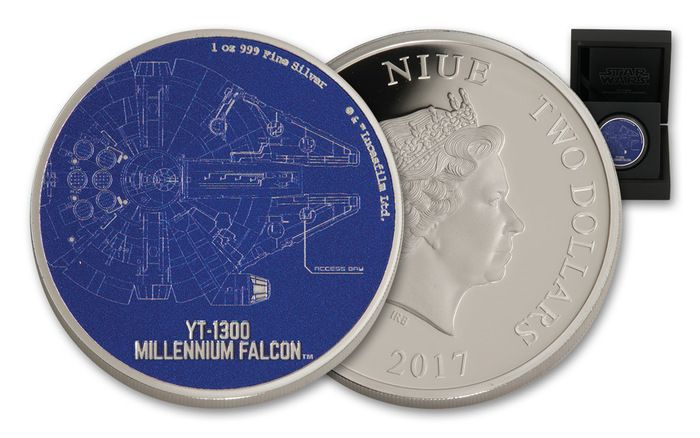2017 Niue 2 Dollar 1-oz Silver Star Wars Ships Millennium Falcon Proof