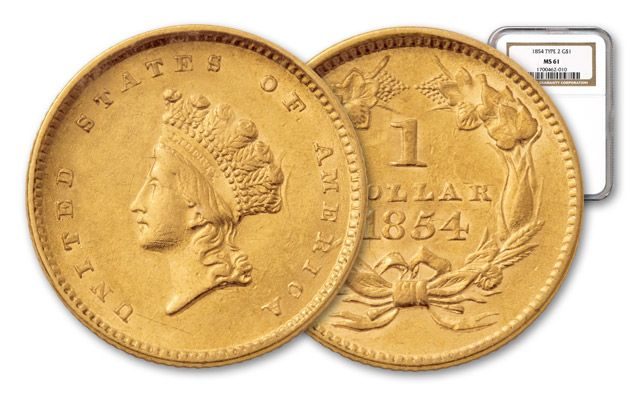1854-1856 1 Dollar Gold Indian Type II NGC/PCGS MS61