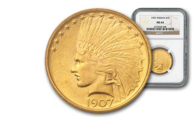 1907-P 10 Dollar Gold Indian NGC/PCGS MS64