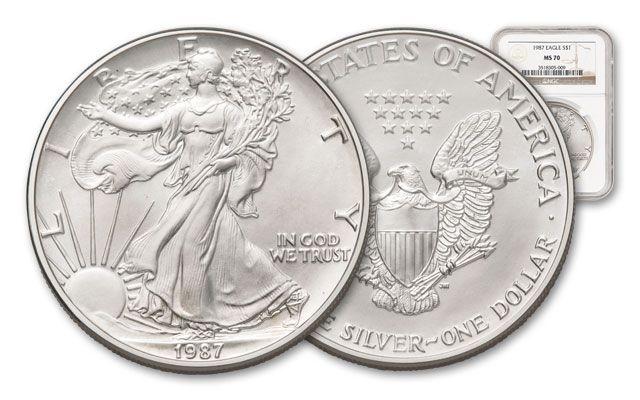 1987 1 Dollar 1-oz Silver Eagle NGC/PCGS MS70