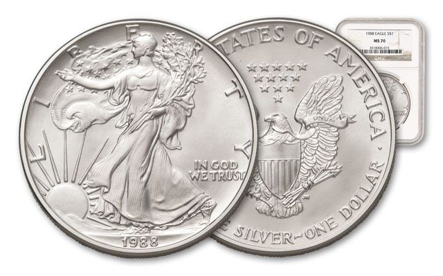 1988 1 Dollar 1-oz Silver Eagle NGC/PCGS MS70 | GovMint.com
