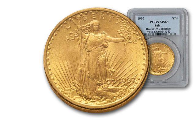 1907 20 Dollar Gold Saint Gaudens No Motto PCGS MS65 Rive d'Or