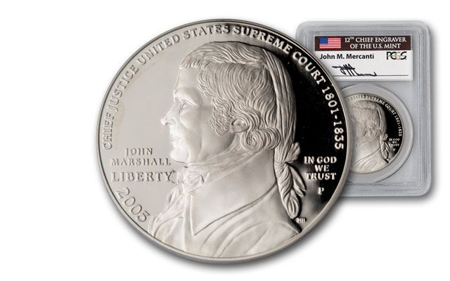 2005-P 1 Dollar Silver Chief Justice John Marshall Proof PCGS PR69 Mercanti Signed