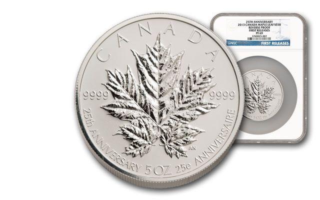 2013 Canada 5-oz Silver Maple Leaf 25th Anniv. NGC PF69
