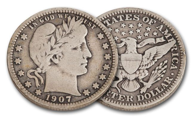 1901-1916 25 Cent Silver Barber VG