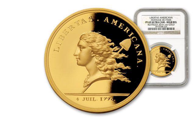 France 1-oz Gold Libertas Americana HR PF69