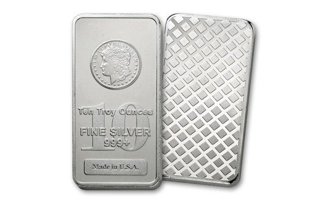 10-oz Silver Morgan Design Bar BU